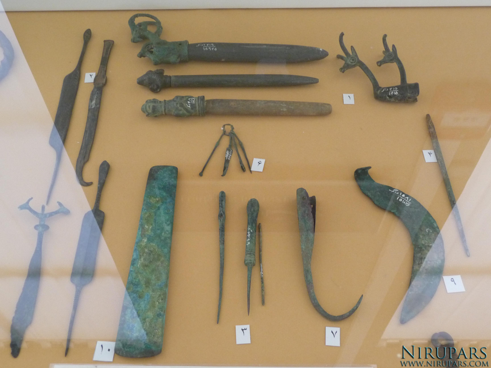National Museum of Iran - Bronze Grindstone Knives Needles Tools