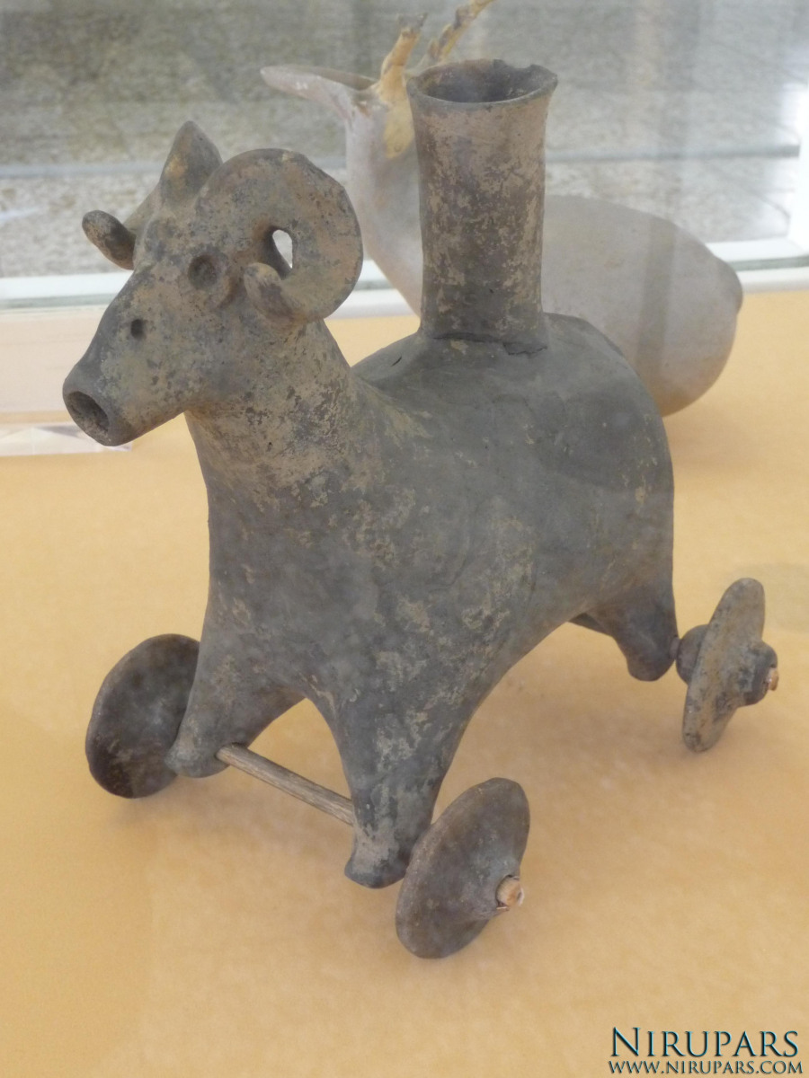 National Museum of Iran - Pottery Rhyton Ibex Wheels