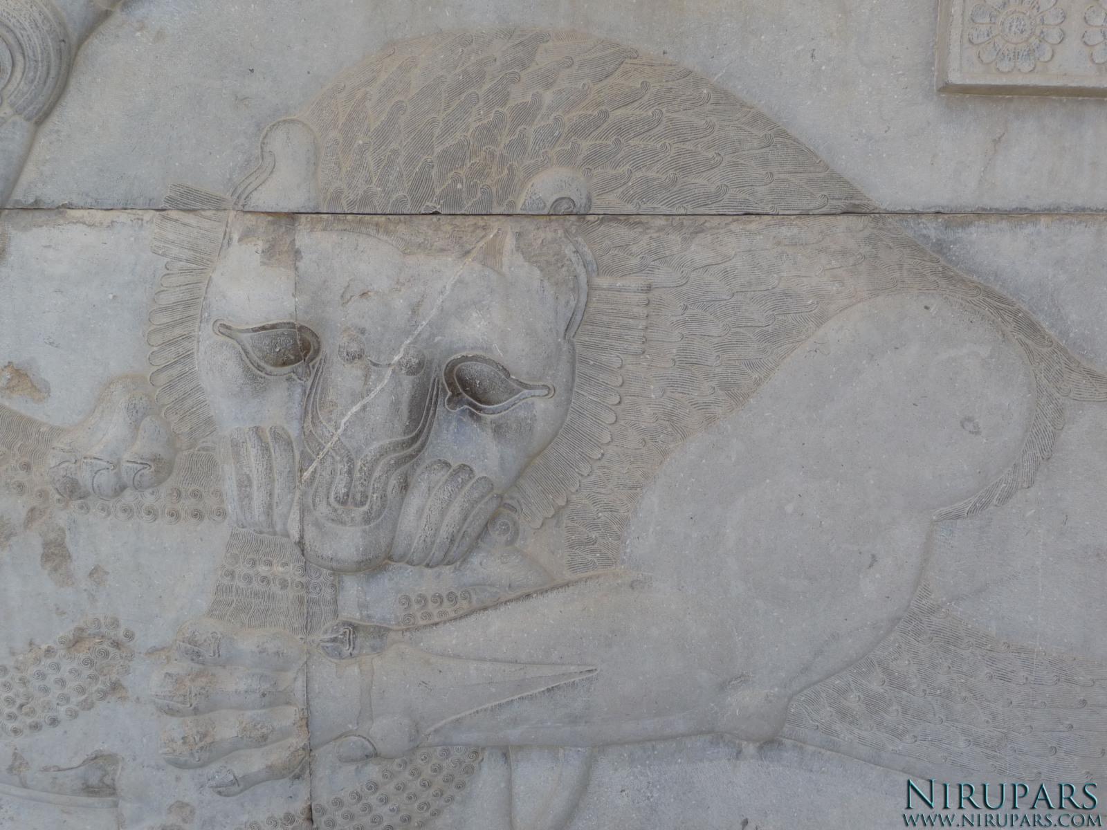 Persepolis - Council Hall Tripylon - North Portico - Lion Relief