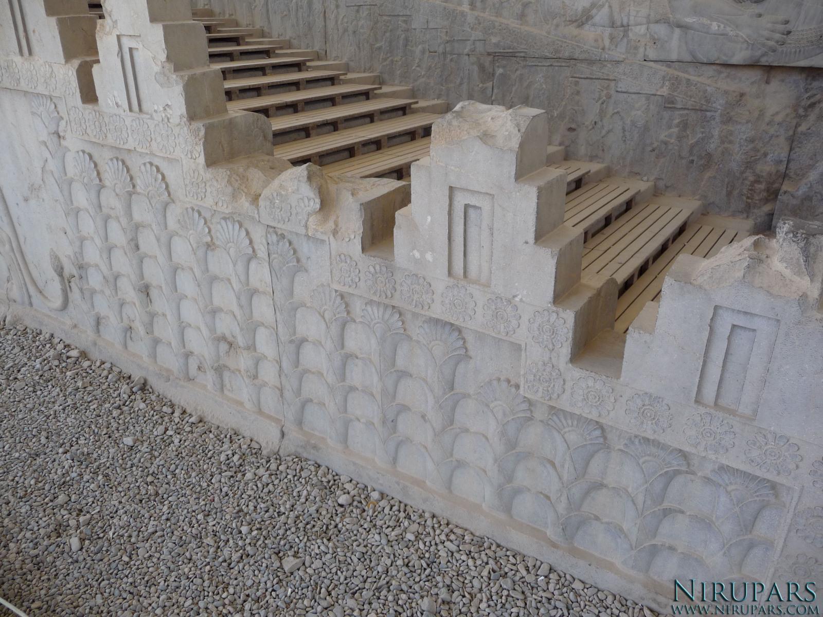 Persepolis - Council Hall Tripylon - North Portico - Relief Lotus Blossom
