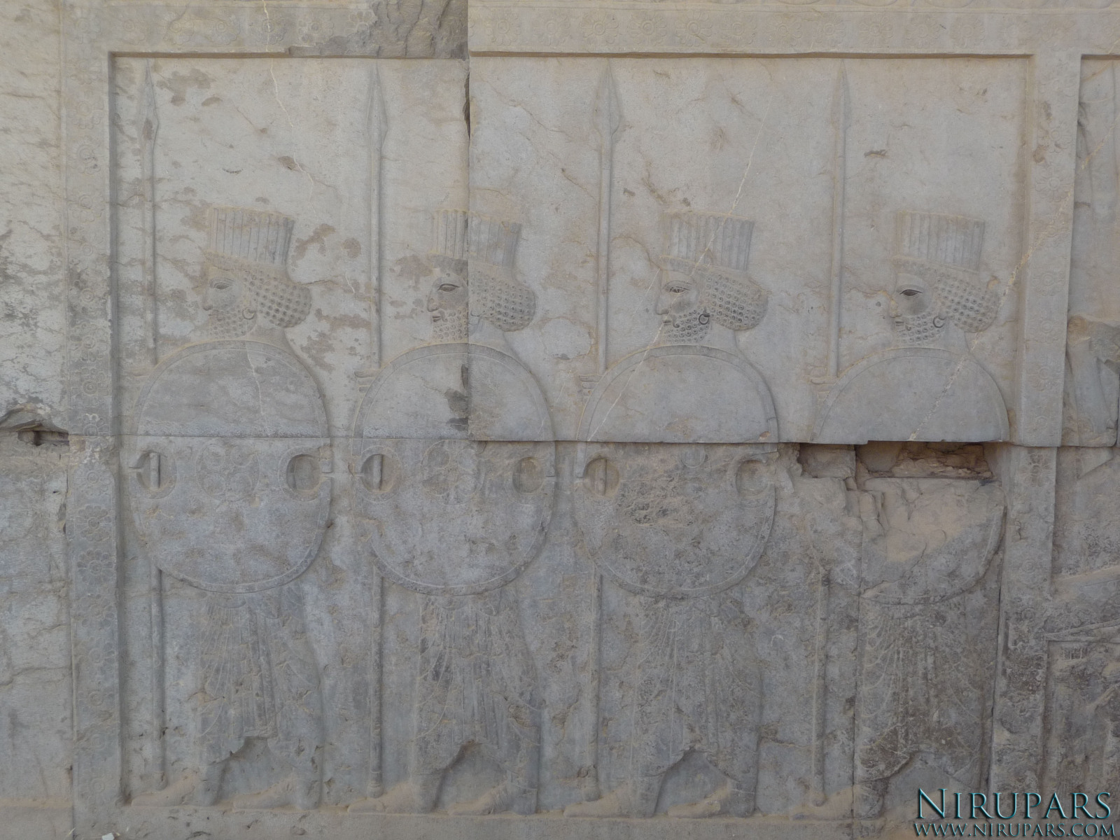 Persepolis - Council Hall Tripylon - North Portico - Relief Palace Troops