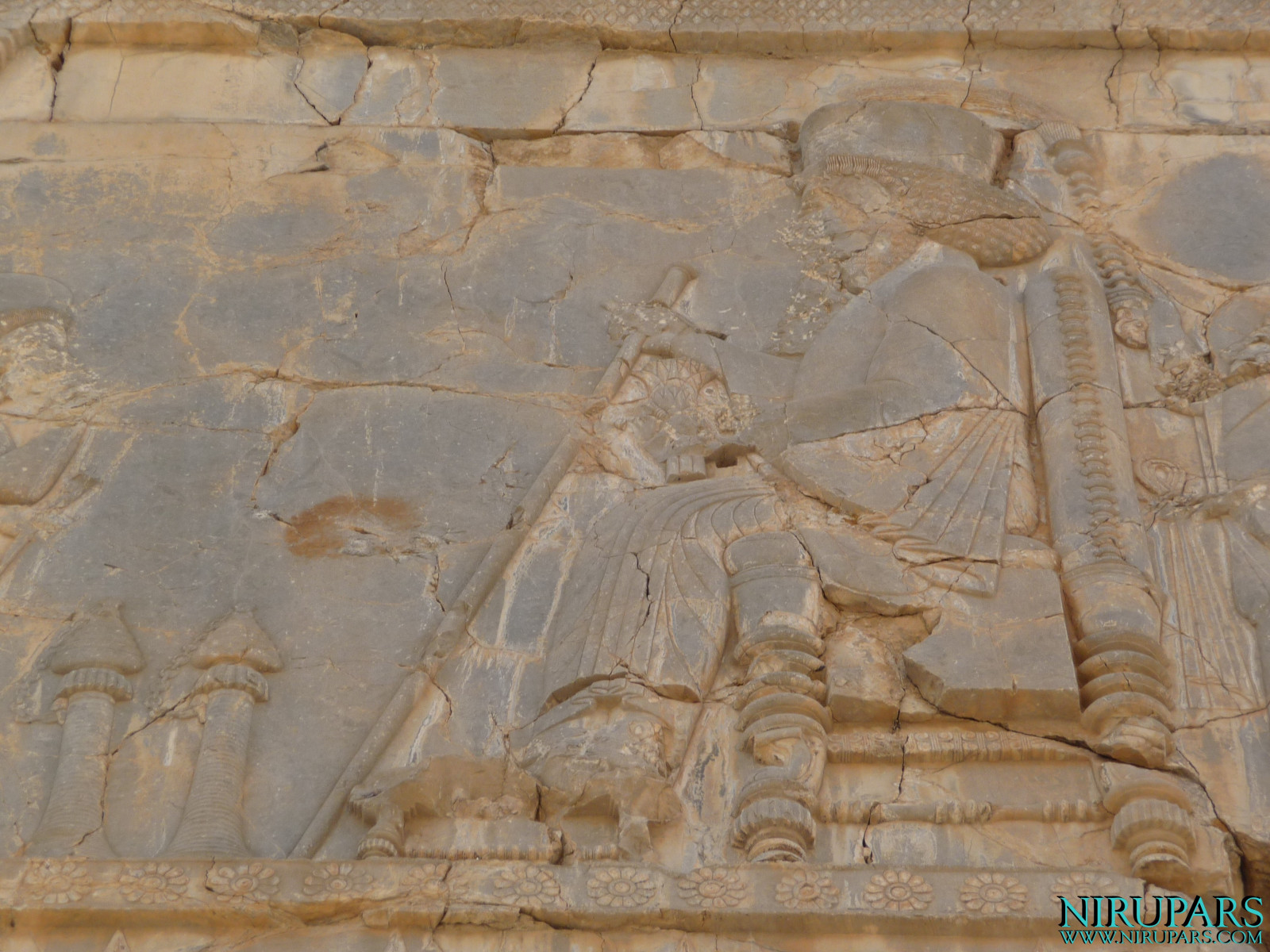 Persepolis - Hall of Hundred Columns - Relief Throne Xerxes I